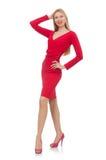 Recht blonde Dame im roten Kleid lokalisiert auf Weiß Stockfotos