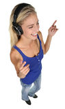 Recht blonde Dame Music Listener Stockfotos