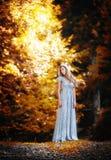 Recht blonde feenhafte Dame mit weißem Kleid Stockfotos