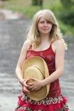 Recht blonde Frau Stockfoto