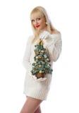 Recht blonde Frau, die kleinen Weihnachtsbaum anhält Lizenzfreies Stockfoto