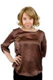 Recht blonde Frau in einem stilvollen Stockfoto