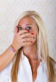 Recht blonde Frau geraubt Stockbild