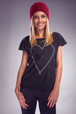 Recht blonde Frau kleidete im Herbst im Studio an Lizenzfreie Stockfotos