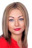 Recht blonde Frau mit den roten Lippen Stockbilder