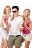 Recht blonde Frau zwei und junger Mann Lizenzfreies Stockbild