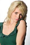 Recht blonde kaukasische Frau - gesorgt oder ermüdet Stockfotos