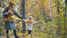 Recht blonde kleine Tochter mit ihrer Mama geht in Herbstpark - haben Sie lustiges und sammeln Sie Blätter Lizenzfreie Stockfotos