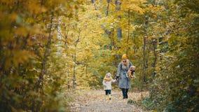 Recht blonde kleine Tochter mit ihrer Mama geht in Herbstpark - haben Sie lustiges und sammeln Sie Blätter Stockbilder