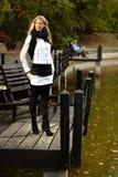 Recht blonder bereitstehender See im Herbst Stockbilder