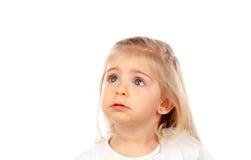 Recht blondes Baby mit blauen Augen Stockfotografie