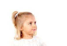 Recht blondes Baby mit blauen Augen Stockbild