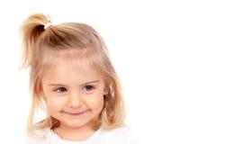Recht blondes Baby mit blauen Augen Stockfotos