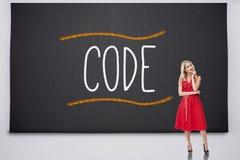 Recht blondes Denken gegen Code Stockbild