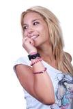 Recht blondes jugendlich Mädchen mit Geräuschring Lizenzfreie Stockfotografie
