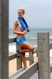 Recht blondes Mädchen in der Sportkleidung Lizenzfreie Stockbilder