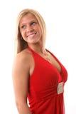 Recht Blondine im formalen Kleid Stockbilder