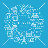 Recht dünne Linie Vektorillustration mit Reiseikonensymbolen Lizenzfreies Stockfoto