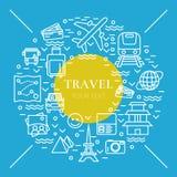 Recht dünne Linie Vektorillustration mit Reiseikonensymbolen Stockfotografie