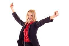 Recht fröhliche Geschäftsfrau Stockbild