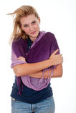 Recht jugendlich Mädchen mit Schal Stockfotografie