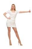 Recht junge blonde Frau lokalisiert auf Weiß Stockfotos
