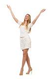 Recht junge blonde Frau lokalisiert auf Weiß Lizenzfreies Stockfoto