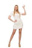 Recht junge blonde Frau lokalisiert auf Weiß Stockfoto