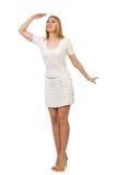 Recht junge blonde Frau lokalisiert auf Weiß Lizenzfreie Stockbilder