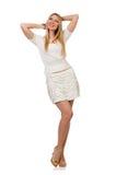 Recht junge blonde Frau lokalisiert auf Weiß Stockbilder