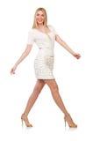 Recht junge blonde Frau lokalisiert auf Weiß Lizenzfreies Stockbild