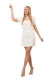 Recht junge blonde Frau lokalisiert auf Weiß Lizenzfreie Stockfotografie