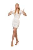 Recht junge blonde Frau lokalisiert auf Weiß Stockfotografie