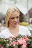 Recht junge Dame in einem Blumenspeicher Lizenzfreie Stockfotografie