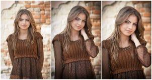 Recht junge Frau, die vor dem Bauernhof aufwirft. Sehr attraktives blondes Mädchen mit braunem kurzem Kleid. Romantische Aufstellu Lizenzfreies Stockfoto
