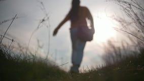 Recht junge Frau in einem Betrieb heraus bei Sonnenuntergang stock footage