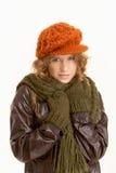 Recht junge Frau gekleidet herauf warmes Stockfotos