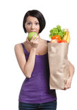 Recht junge Frau mit der gesunden Nahrung Stockfotografie