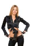 Recht junge Frau mit einer Fotokamera Stockbilder