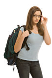 Recht junge Frau mit Rucksack Stockfotografie