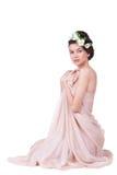 Recht junge Frau mit Tulpen Lizenzfreie Stockfotos