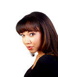 Recht junge Portraitdunkelheitstrickjacke der schwarzen Frau Stockbild