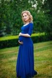 Recht junge schwangere Frau im blauen Kleid mit dem langen blonden gelockten Haar, das ihren Bauch hält und Kamera im Sommerpark  Lizenzfreies Stockfoto