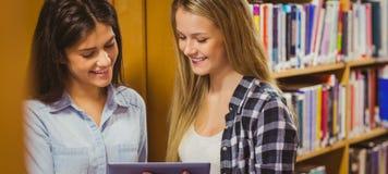 Recht junge Studenten, die zusammen mit Tablette arbeiten stockbilder