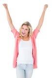 Recht junges blondes Gefühl erfolgreich Lizenzfreie Stockbilder