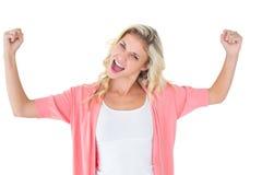 Recht junges blondes Gefühl erfolgreich Stockbilder