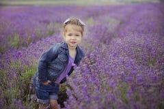 Recht junges Mädchen, das auf dem Lavendelgebiet in der netten Hutkreissäge mit purpurroter Blume auf ihr sitzt Stockbilder