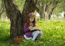 Recht kleines Mädchen liest Buch Lizenzfreies Stockfoto