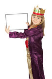 Recht kleines Mädchen mit Karte auf dem weißen Hintergrund Stockbilder