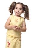 Recht lächelndes kleines Mädchen mit Pferdeschwänzen stockbild